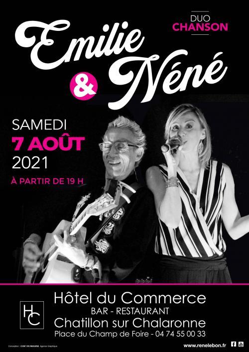 """Soirée """"Duo chanson"""" animée par Emilie & Néné Samedi 7 Août 2021"""